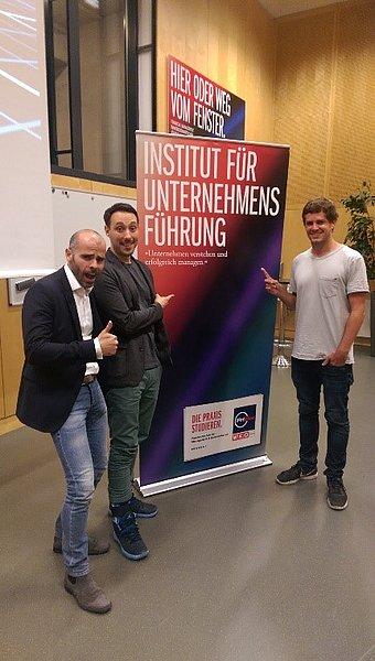 Personen im Bild von links nach rechts: Ari Benz, Marcel Nürnberg, Daniel Laiminger
