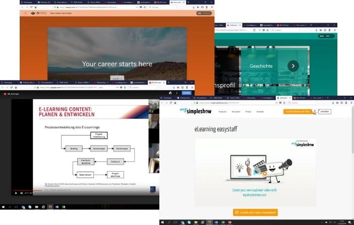 Auszug Webinar und benutzte Tools der Vollzeit- und berufsbegleitenden Studierenden im 1. Semester