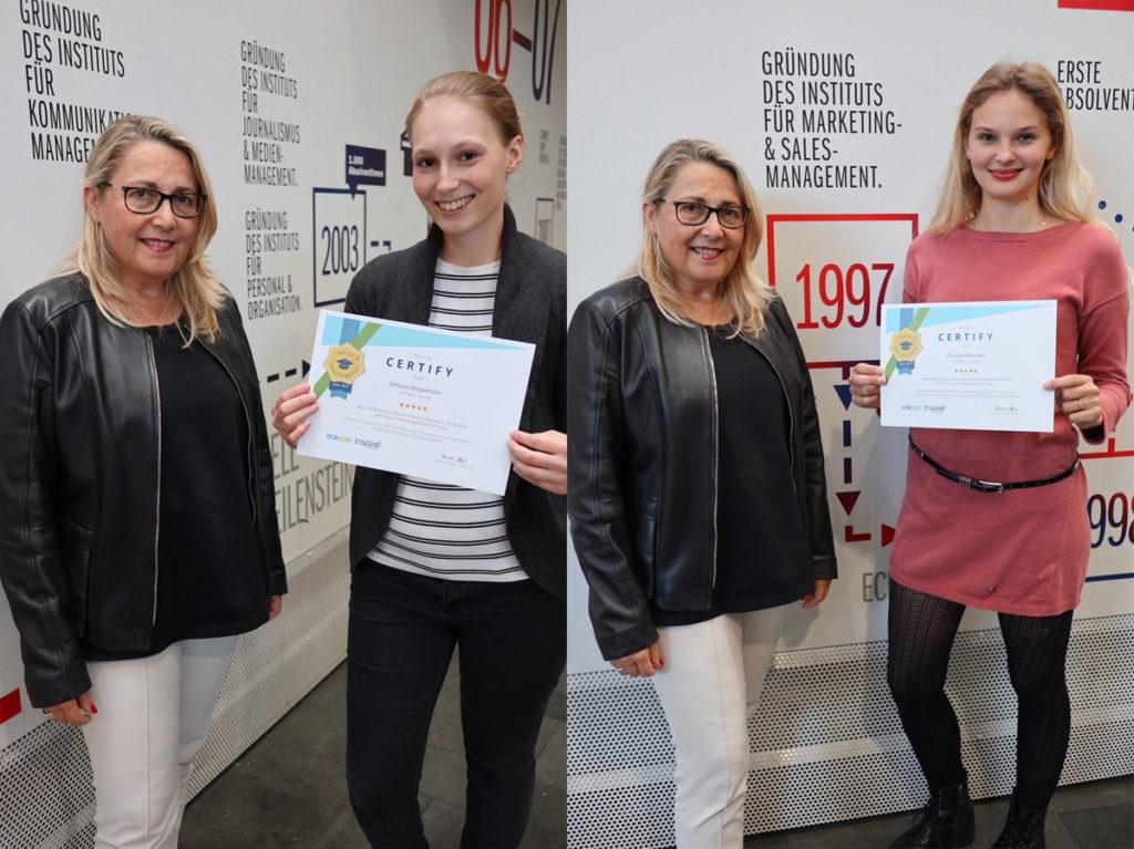 Links: Viktoria Weigelhofer (BA KOMM), Rechts: Patrizia Muschett (MA MARS)