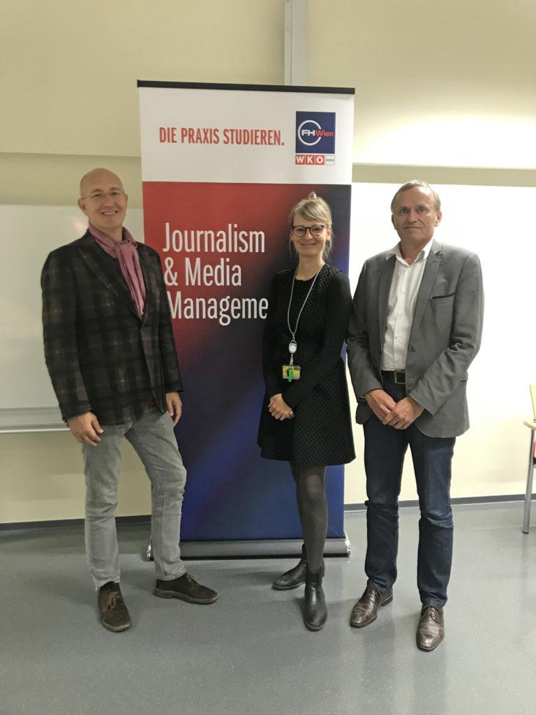 Konrad Mitschka, ORF Public Value Kompetenzcenter; Gisela Reiter, Teaching & Research Associate an der FH Wien der WKW; Stefan Kappacher, Leiter des Ö1-Medienmagazins #doublecheck;