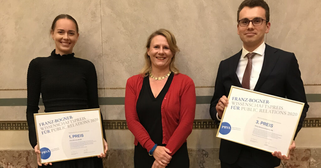 Zwei Auszeichnungen mit dem Franz-Bogner-Wissenschaftspreis für PR 2020 für Masterarbeitem im Studiengang Kommunikationsmanagement der FHWien der WKW