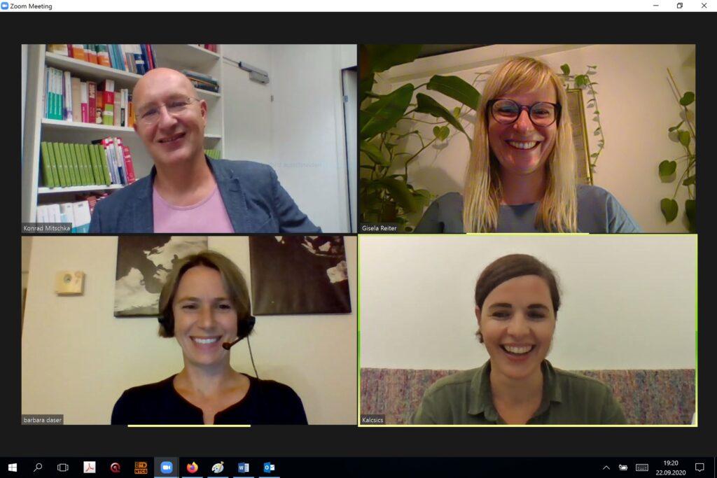 Vlnr.: Konrad Mitschka (ORF Public Value Kompetenzzentrum), Gisela Reiter (Research & Teaching Associate an der FHWien der WKW), Barbara Daser und Monika Kalcsics (beide Ö1)