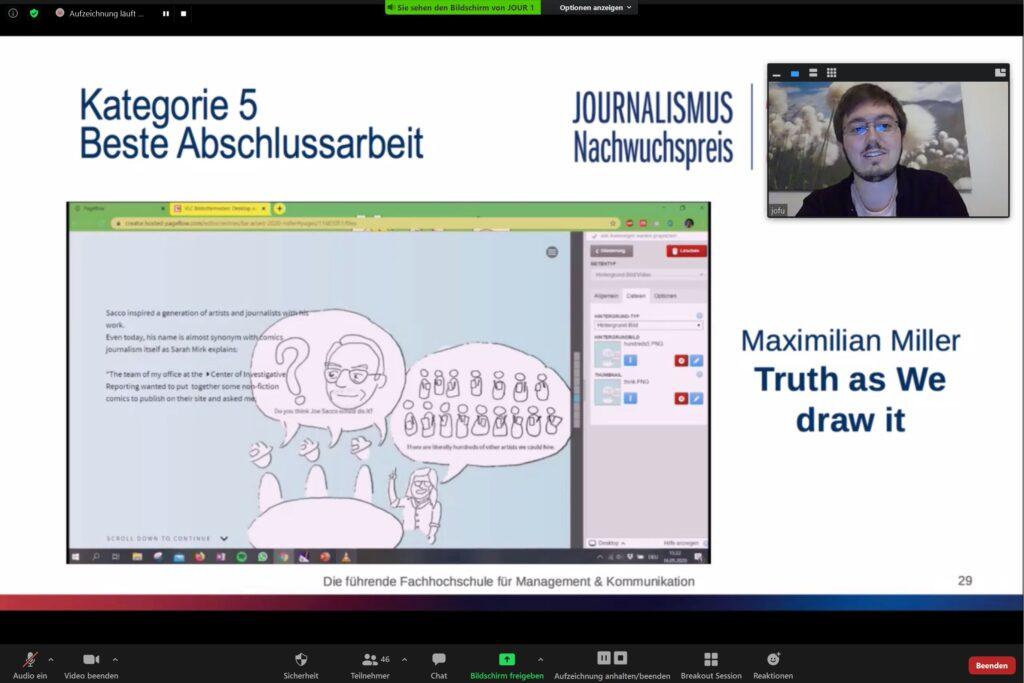 Journalismus-Nachwuchspreis: Kategorie Beste Abschlussarbeit an Maximilian Miller