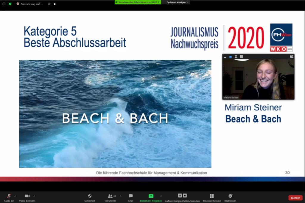 Journalismus-Nachwuchspreis: Kategorie Beste Abschlussarbeit an Miriam Steiner