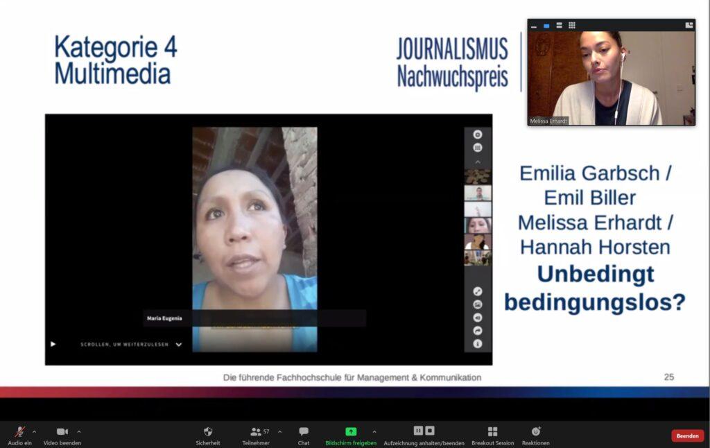 Journalismus-Nachwuchspreis: Kategorie Multimedia an Emilia Garbsch, Emil Biller, Melissa Erhardt und Hannah Horsten