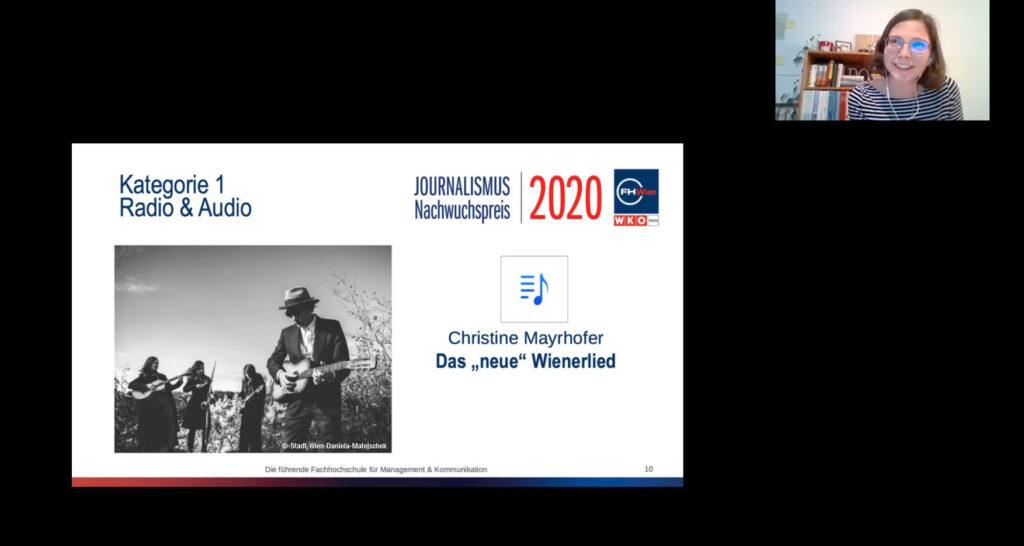 Journalismus-Nachwuchspreis: Kategorie Radio & Audio an Christine Mayrhofer