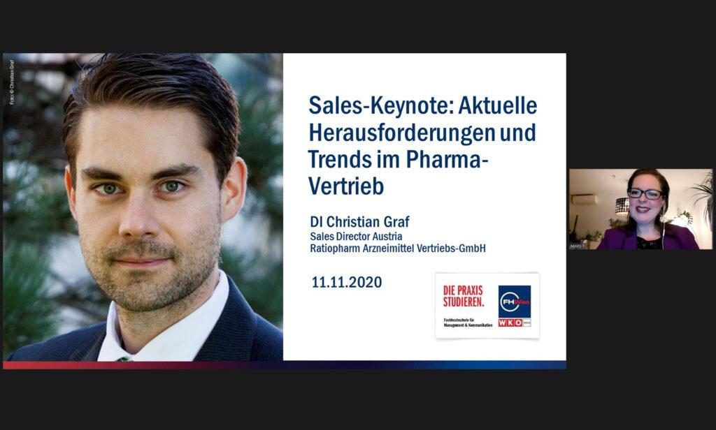 """Marina Prem bei der Sales Keynote """"Aktuelle Trends & Herausforderungen im Pharma-Vertrieb"""" mit Christian Graf"""