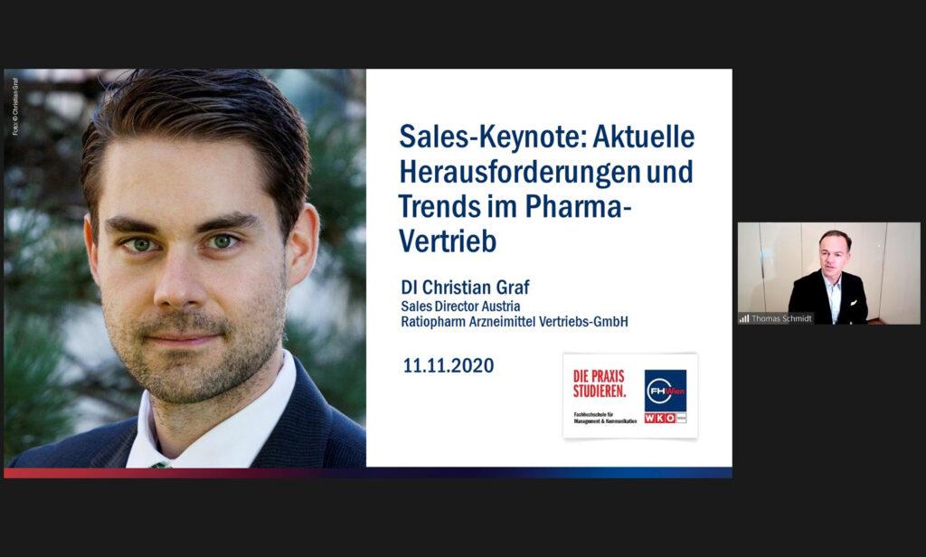 """Thomas Schmidt bei der Sales Keynote """"Aktuelle Trends & Herausforderungen im Pharma-Vertrieb"""" mit Christian Graf"""