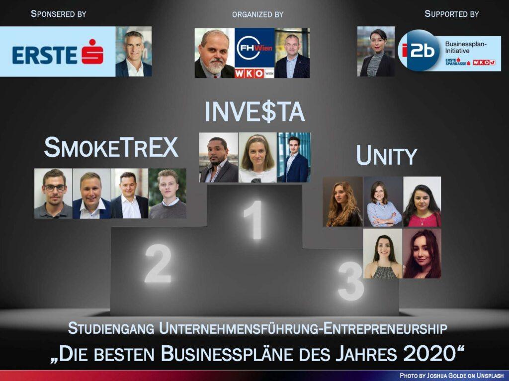 Prämierung der besten Businesspläne 2020