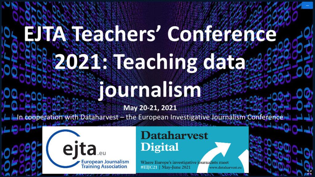 """Titelbild der Online-Konferenz """"EJTA Teachers Conference 2021: Teaching data journalism""""."""