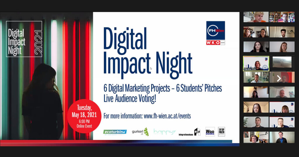 Studierende der FHWien der WKW pitchen im den Sieg in der Digital Impact Night